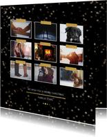 Kerstkaarten - Kerstkaart zwart en goud voor 9 foto's - Een gouden kerst