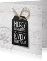 Kerstkaarten - Kerstkaart zwart label wit hout