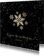 Kerstkaart zwart met gouden sneeuwvlok - een gouden kerst