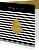 Kerstkaart zwart wit kerst ster goud