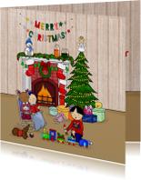 Kerstkaarten - Kerstmis Knus bij de open haard