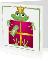 Verjaardagskaarten - kikker - met een verjaardagskado 2