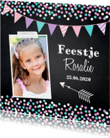 Kinderfeestje confetti meisje krijtbord