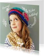 Kinderfeestje fotokaart meisje illustraties