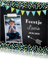 Kinderfeestje jongen confetti krijtbord