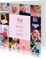 Kinderfeestje kaart met fotocollage en unicorn