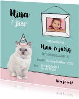 Kinderfeestje - Uitnodiging kitten met eigen foto