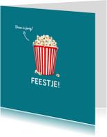 Kinderfeestje uitnodiging popcorn
