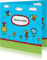 Kinderkaart bijtjes blauw
