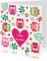 Kinderkaart uiltjes roze
