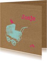 Kinderwagen, karton achtergrond