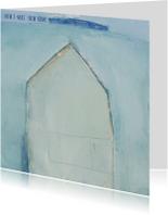 Kerstkaarten - kKerstkaart kunst winterhuis