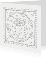 Kleurplaat kaarten - Kleurplaatkaart uil