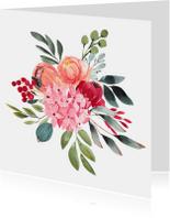 Bloemenkaarten - Kleurrijk aquarel kaart met bloemen boeket