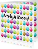 Kleurrijke Paaskaart met een heleboel low poly eitjes
