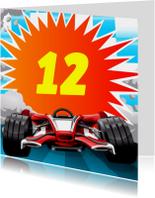 Knallende leeftijd kaart met race auto