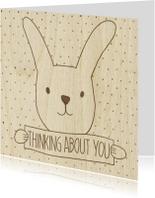 Liefde kaarten - Konijn met bordje op hout