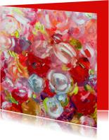 Kunstkaarten - Kunst rozen oranje rood roze