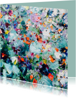 Kunst schilderij heuvel bloemen