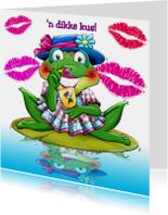 Leuke beterschapskaart  opkikker met een dikke kus