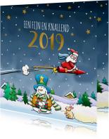 Leuke nieuwjaarskaart met vliegende kerstman en sneeuwpop