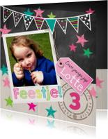 Kinderfeestjes - Leuke Uitnoding meisje krijtbord