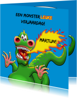 Leuke verjaardagskaart met beetje eng monster voor kind