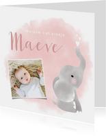 Lief geboortekaartje meisje met olifantje en waterverf.
