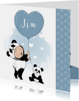 Geboortekaartjes - Lief geboortekaartje met baby in onesie en pandabeertje