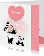 Geboortekaartjes - Lief geboortekaartje met meisje in onesie en pandabeertje