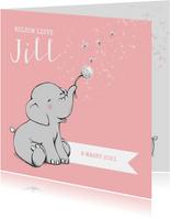 Geboortekaartjes - Lief geboortekaartje met olifantje en wensbloem meisje
