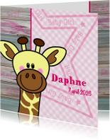 Lief geboortekaartje ROZE giraf