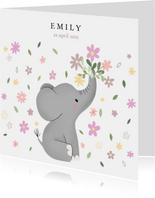 Lief geboortekaartje voor meisje met olifantje en bloemetjes