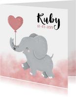 Lief geboortekaartje voor meisje met olifantje en waterverf