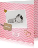 Lief hip roze zigzag streep geboortekaartje foto