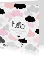 Felicitatiekaarten - Lief wolkje geboorte meisje