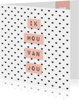 """Liefdeskaart """"Hartjes"""" - WW"""