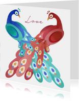 Liefde kaarten - Liefdeskaart met twee pauwen