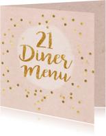 menukaart 21 diner roze met gouden letters