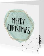 Merry Christmas Waterverf met goud kader