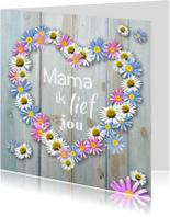 Moederdag kaarten - Moederdag bloemen hart