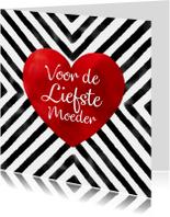 Moederdag kaarten - moederdag zwarte strepen waterverf rood aquarel hart