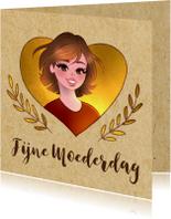 Moederdag kaarten - Moederdagkaart met illustratie  & goud accenten