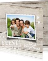 Mooie foto jubileum kaart  12,5 jaar getrouwd - hout