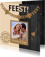 Mooie uitnodiging voor een FEEST! met stippen en zwart hout