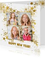 Nieuwjaar feestelijke foto kaart met vele gouden sterren