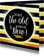Nieuwjaarskaarten - Nieuwjaar gestreept met goud