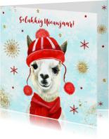 Nieuwjaarskaarten - Nieuwjaar lama met muts