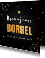 Nieuwjaarskaarten - Nieuwjaarsborrel goud confetti typografie 2019