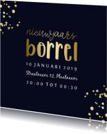 Nieuwjaarsborrel uitnodiging goudlook met spetters
